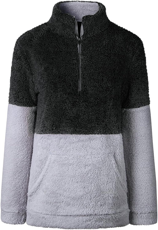 ALLUMK Womens Fuzzy Fleece Long Sleeve Half Zip Pocket Jacket Outwear Sweatshirt Black M