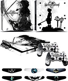 PS4 Slim Skins - Decals for PS4 Controller Playstation 4 Slim - Stickers Cover for PS4 Slim Controller Sony Playstation Four Slim Accessories with Dualshock 4 Two Controllers Skin - Kingdom Hearts