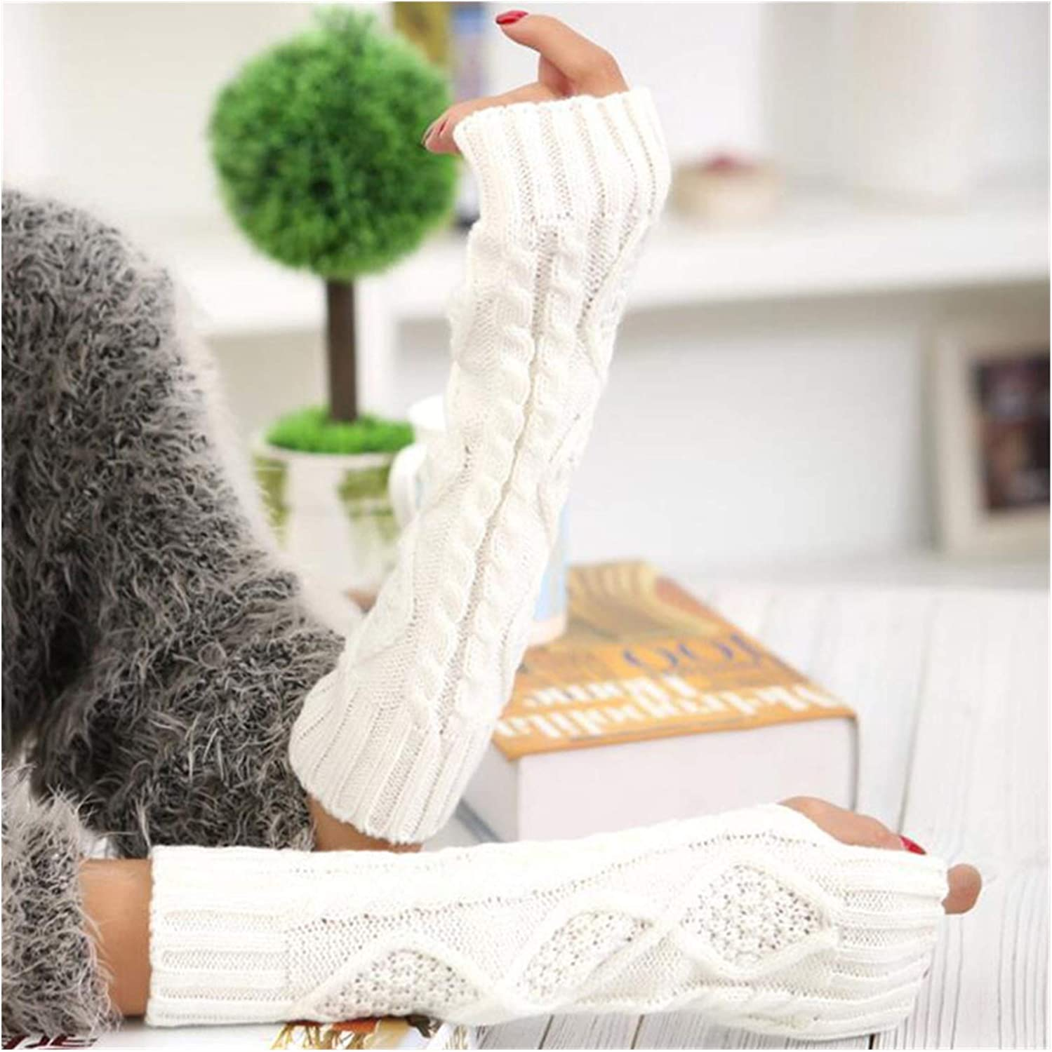 XIAOQIU Gloves Long Section Gloves 30cm Autumn Winter Ladies Knitting Fingerless Sleeve Women Half Finger Warm Exposed Fingers Gloves Mittens (Color : White, Gloves Size : T)