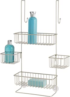 iDesign Metalo Bathroom Over the Door Shower Caddy with Swivel Storage Baskets for Shampoo, Conditioner, Soap, 22.7