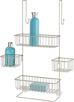 "iDesign Metalo Over-the-Door Hanging Shower Organizer - 22.7"" x 10.5"" x 8.2"", Satin"