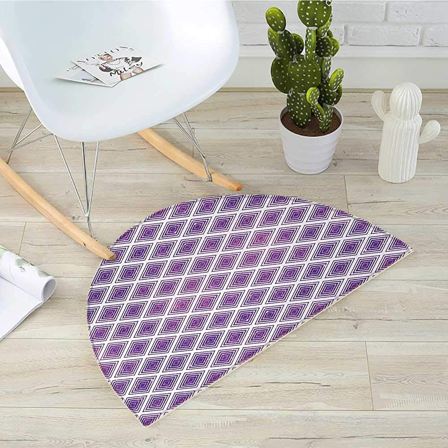 Purple Semicircular CushionRetro Style Innovative Abstract Squares Pattern Modern Design Graphic Print Entry Door Mat H 51.1  xD 76.7  purple and White