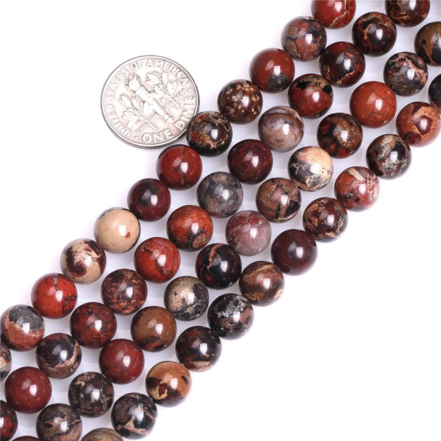 GEM-inside Natural Round Dark Red 8mm AA Grade Natural Poppy Jasper Gemstone Semi Precious Beads for Jewelry Making 15