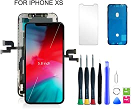 for iPhone Xs Screen Replacement LCD Display & Touch Digitizer Screen Assembly Kit with All Repair Tools + Screen Protector + Waterproof Glue (5.8 Inch Black)