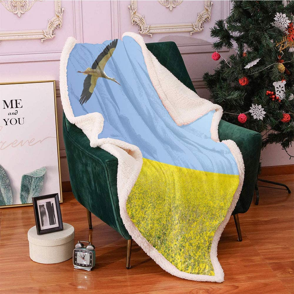 Yellow and Many popular brands Blue Sherpa Blankets Alone in Sky Flying Stork Ranking TOP17 Clear