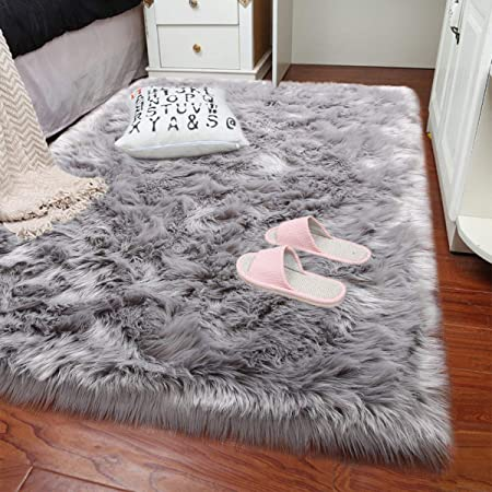 Rectangle Ultra Soft Fluffy Bedroom Rugs Luxury Faux Fur Sheepskin Area Rug Plush Furry Shaggy Carpet For Living Room Floor Accent Fuzzy Nursery Bedside Girls Pricess Room Decor 4 X5 9 Grey Home