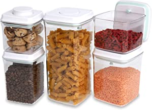 Stoorg Airtight Food Storage Containers, 5 Pcs Push Top Container Set for Kitchen Pantry Organisation - Ideal Kitchen Stor...