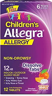 Allegra Children's Non-Drowsy Antihistamine Meltable Tablets for 12-Hour Allergy Relief, 30 mg 12-Count
