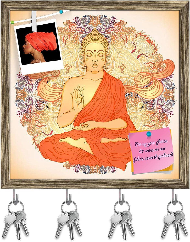 Artzfolio Sitting Buddha Key Holder Hooks   Notice Pin Board   Antique golden Frame 20 X 20Inch