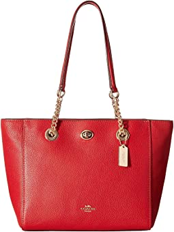 Pebbled Turnlock Chain Tote 27