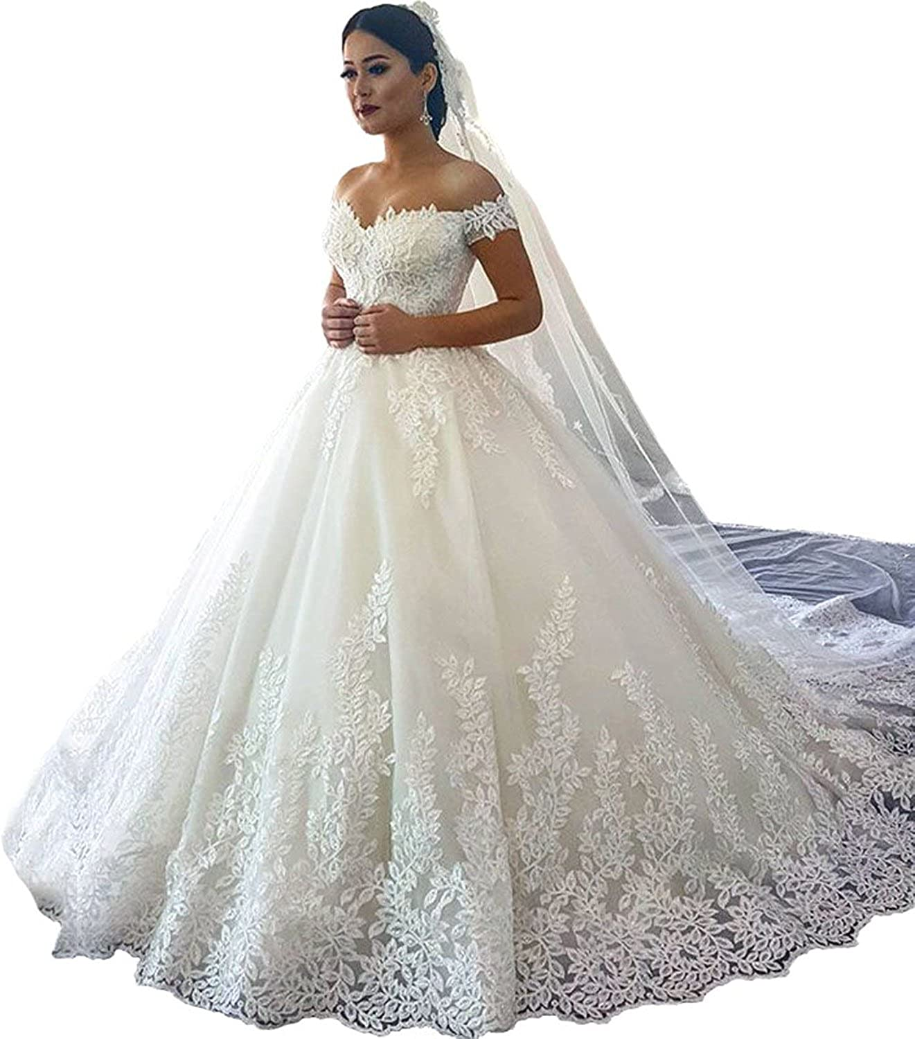 Gralre Women's Off Shoulder Sweetheart Lace Appliques Wedding Dresses A Line Bridal Gowns Long