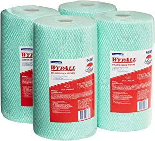 WypAll 94161 WypAll Green Colour Coded Heavy Duty Wiper Rolls, 107 Wipers/Roll, Case of 4 Rolls, Green 3.644 kilograms