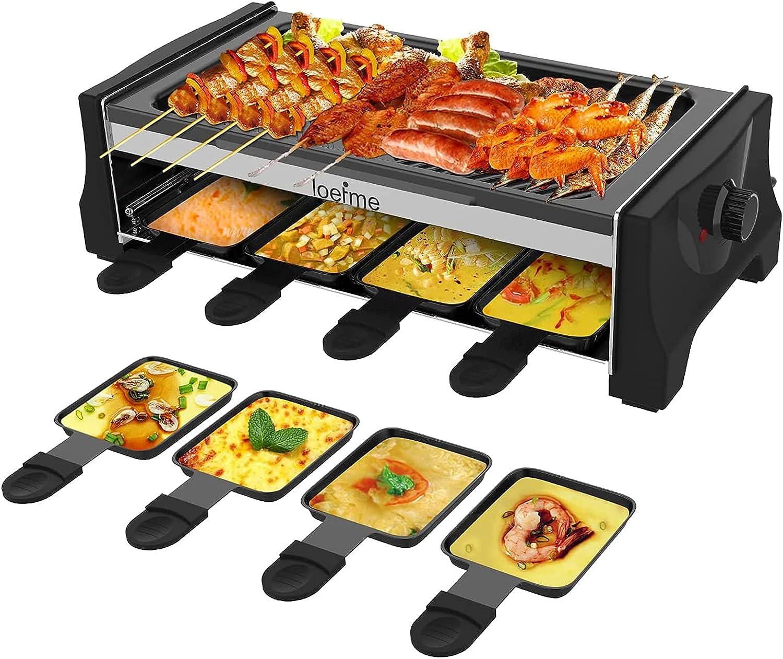 LOEFME Parrilla eléctrica para raclette con sartén reversible Teppanyaki para 8 personas, revestimiento antiadherente, 8 mini sartenes para raclette para cocinar queso