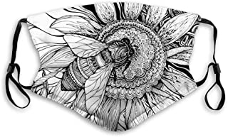 Comfortable Printed mask,Nature, Bee on a Flower Honey Pollen Floral Mother Earth Phase Wildlife Digital Pr...