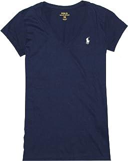Ralph Lauren Sport Women's Lightweight V-Neck T-Shirt (X-Small, Newport Navy (White Pony))