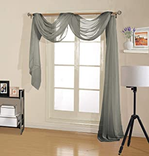 Decotex Premium Quality Sheer Voile Scarf Valance for, Gray, Size 54