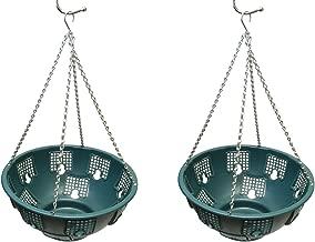 7Penn Outdoor Hanging Baskets, Hanging Basket for Hanging Plants, Hanging Flowers, Hanging Plant Holder 2pk in Green