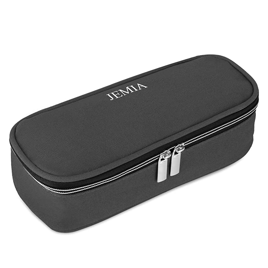 JEMIA - Black Canvas Pencil Case with Dual Zipper Compartment to Hold Office Cosmetic Makeup Supply Accessories in Organized for Kid, Teen Student, Boy, Girl or Adult for Men, Women