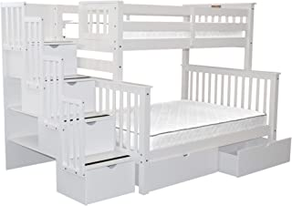 Bedz King Stairway Bunk Beds Twin over Full with 4 Drawers in the Steps and 2 Under Bed Drawers, White