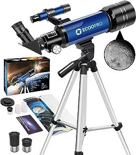 Telescopio Astronómico, HD Telescopio de refracción de 70mm con 2 oculares (K25mm&K10mm), Ajustable Trípode, Fácil de Mont...