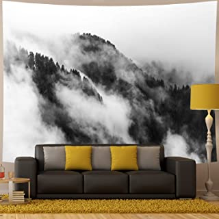 """Amhokhui Misty Forest Tapestry Mountain Tapestry Black and White Tapestry Wall Hanging Fantastic Fog Magical Trees Tapestry 3D Vision Nature Landscape Tapestry (Misty, 59""""×78"""")"""