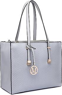 Miss LuLu Handtasche Damen Aktentasche Henkeltasche Unitasche Schultertasche Tote Bag Retro Elegant Groß (LT6636 GY)