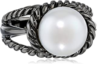 TARA Pearls White Freshwater Cultured Pearl Black Rhodium Ring