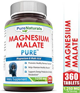 Pure Naturals Magnesium Malate - 1250 Mg 360 Tablets- *Promotes Healthy Nervous Function* Helps Maintain Healthy Muscles* Supports Energy Productive & Healthy Metabolism*