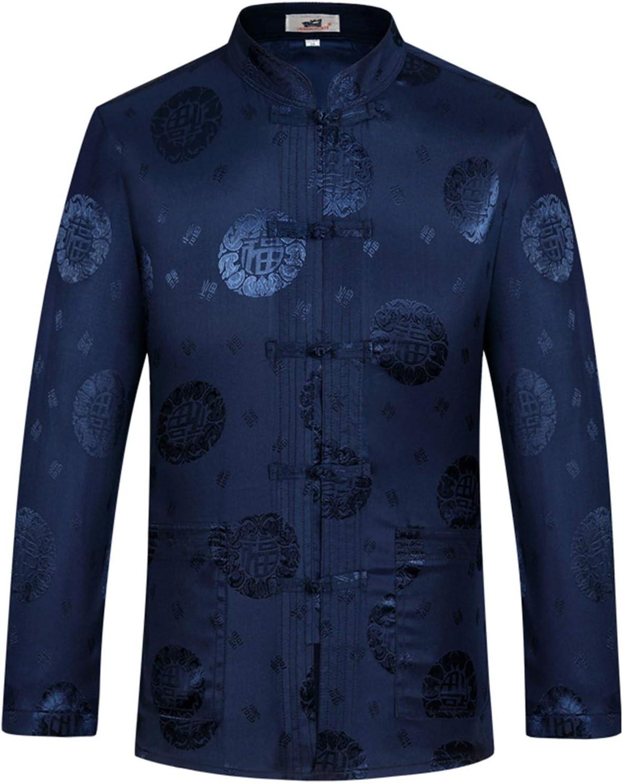 Designer Chinese Traditional Men's Satin Mandarin Collar Dragon Silk Tang Suit Clothing Kung Fu Jacket Coat (Color : D navyblue, Size : XXL 180)