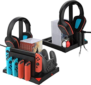 Vertical Stand with Cooling Fan for Nintendo Switch and Accessories, YUANHOT Charging Station Dock with Joy Con & Pro Cont...