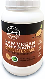 Stellar Labs Chocolate Raw Vegan Plant Protein Powder Meal Replacement -Delicious & Creamy Chocolate Vegan Protein Shake- Non-GMO, Certified Vegan, High Protein, 30 Servings
