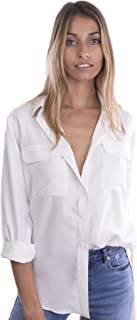 CAMIXA Womens 100% Silk Blouses Ladies Shirt Casual Pocket Button up Elegant Top