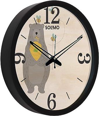 Amazon Brand - Solimo 12-inch Wall Clock - Bear (Silent Movement, Black Frame)
