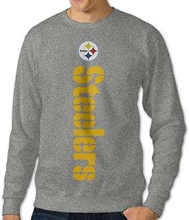 Juice Forus Men's Pittsburgh Football Steeler Pullover Long Sleeve Tee Crew Neck Sweatshirt Ash