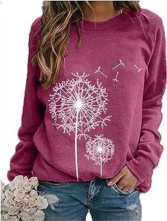 JNIFULI Women's Dandelion Print T-Shirt Vintage Funny Long Sleeve Crew Neck Graphic Tees Casual Loose Tops