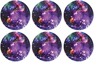 CARIBOU Coasters, Purple Marvel Nebula Galaxy Design Absorbent ROUND Fabric Felt Neoprene Coasters for Drinks, 6pcs Set