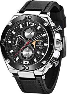 BENYAR Wrist Watches for Men Quartz Movement Leather Strap Analog Chronograph Fashion Business Sport Design Mens Watch 30M...