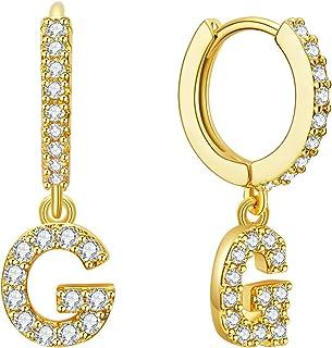 Initial Earrings for Women Girls, Letter Huggie earrings with 14K Gold Plated, Cubic Zirconia Hoop Earrings Dangle, Tiny Earrings, Jewelry Gift for Girls Women Teen