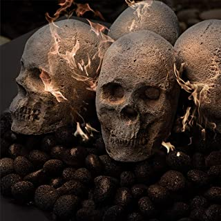 Ceramic Fire Pit Skulls and Bones | Fireproof Ceramic Decoration for Fire Pits and Fireplaces | Faux Halloween Decor, (Gray, Single Skull)