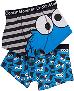 U Wear Ltd Mens 2pk Sesame Street Cookie Monster Boxer Shorts