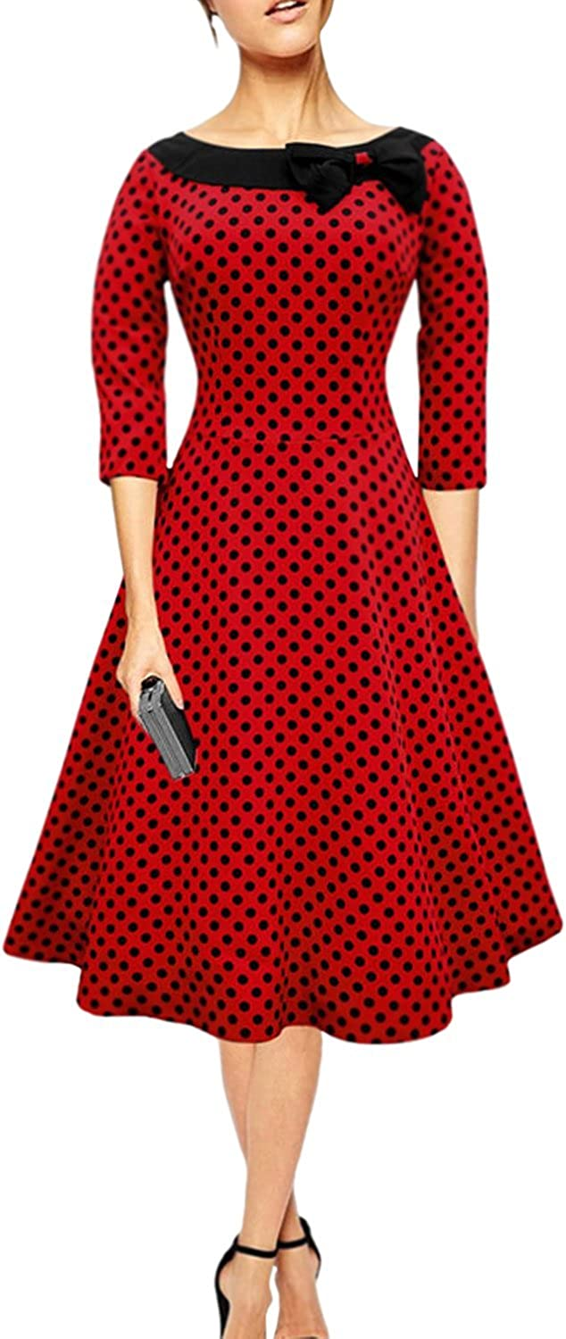 Unomatch Women Round Neck with Bow Full Doted Halter Dress Red with Black Dots