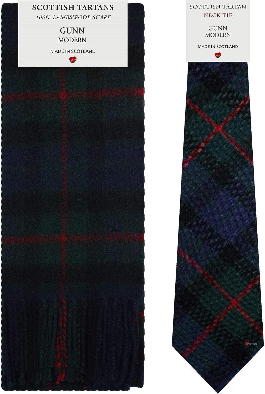 Gunn Modern Tartan Plaid 100% Lambswool Scarf & Tie Gift Set