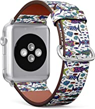 Compatible with Apple Watch Serie 4/3/2/1 (Big Version 42/44 mm) Leather Wristband Bracelet Replacement Accessory Band + Adapters - Bright Ornamental Sardines
