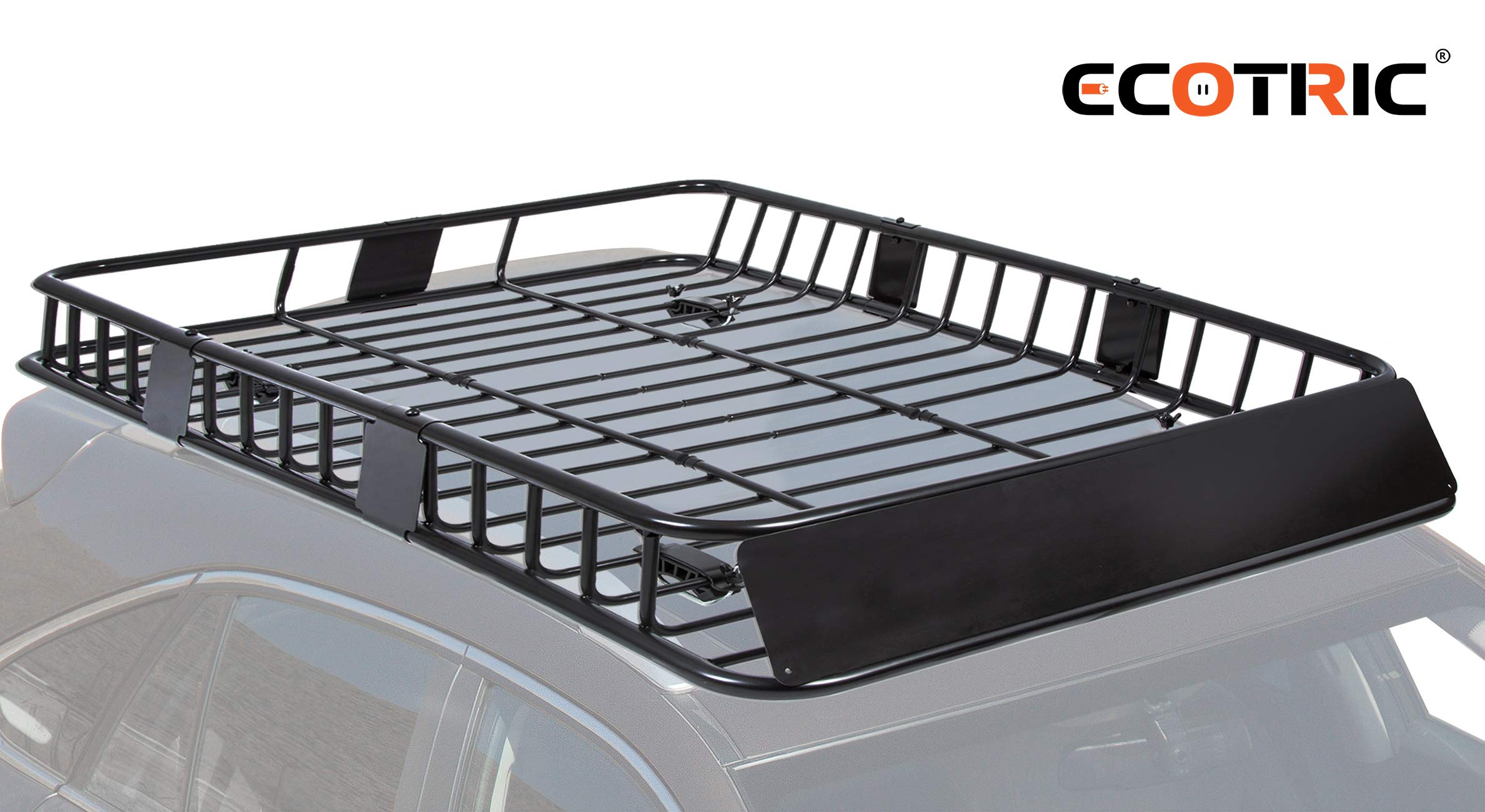 """ECOTRIC 8"""" Universal Black Roof Rack Cargo Carrier Car Top Luggage Holder  with Extension Carrier Basket SUV Storage for Travel"""