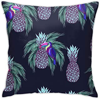 QQHEjuxin Decorative Throw Pillow Cover,Oucans and Pineapples On Dark Background Cotton Linen Pillow Case Square Cushion Cover for Sofa Couch Home Bedroom Holiday Decor 18 X 18 Inch