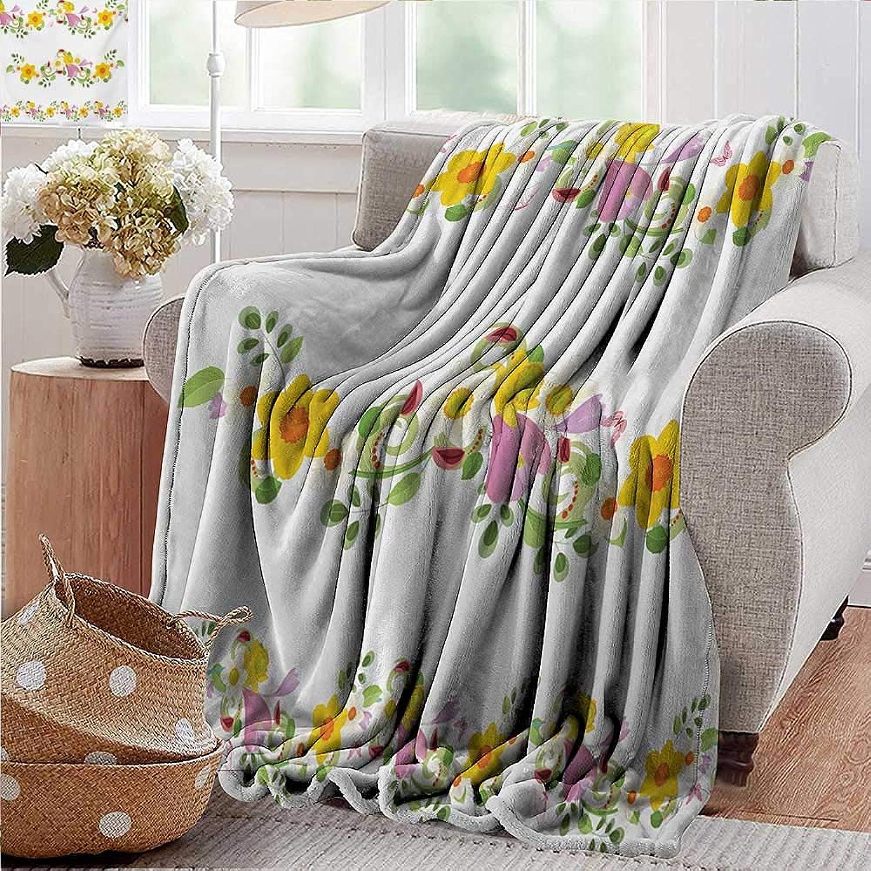 Gravity Blanket,Daffodil,Horizontal Leaf and Flower Motifs Laurel Fairy Mother Earth Habitat Gardening Theme,Multi,All Seasons AntiStatic Couch Blanket Travelling Camping Blanket 50 x60