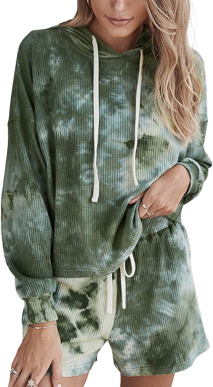Doublju Women's Long Sleeve Hoodie Tie Dye Nightwear Pajamas Set Sleep & Lounge Set