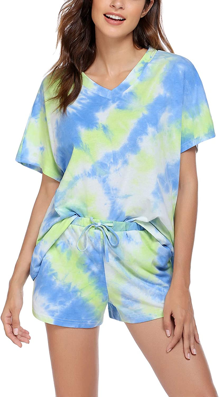Ekouaer Short Pajama Set Womens Loungewear Tie Dye Pajama Cotton Nightwear Oversized