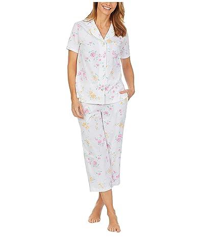 Carole Hochman Petite Soft Jersey Short Sleeve Capris Pajama Set (White Multi Floral) Women
