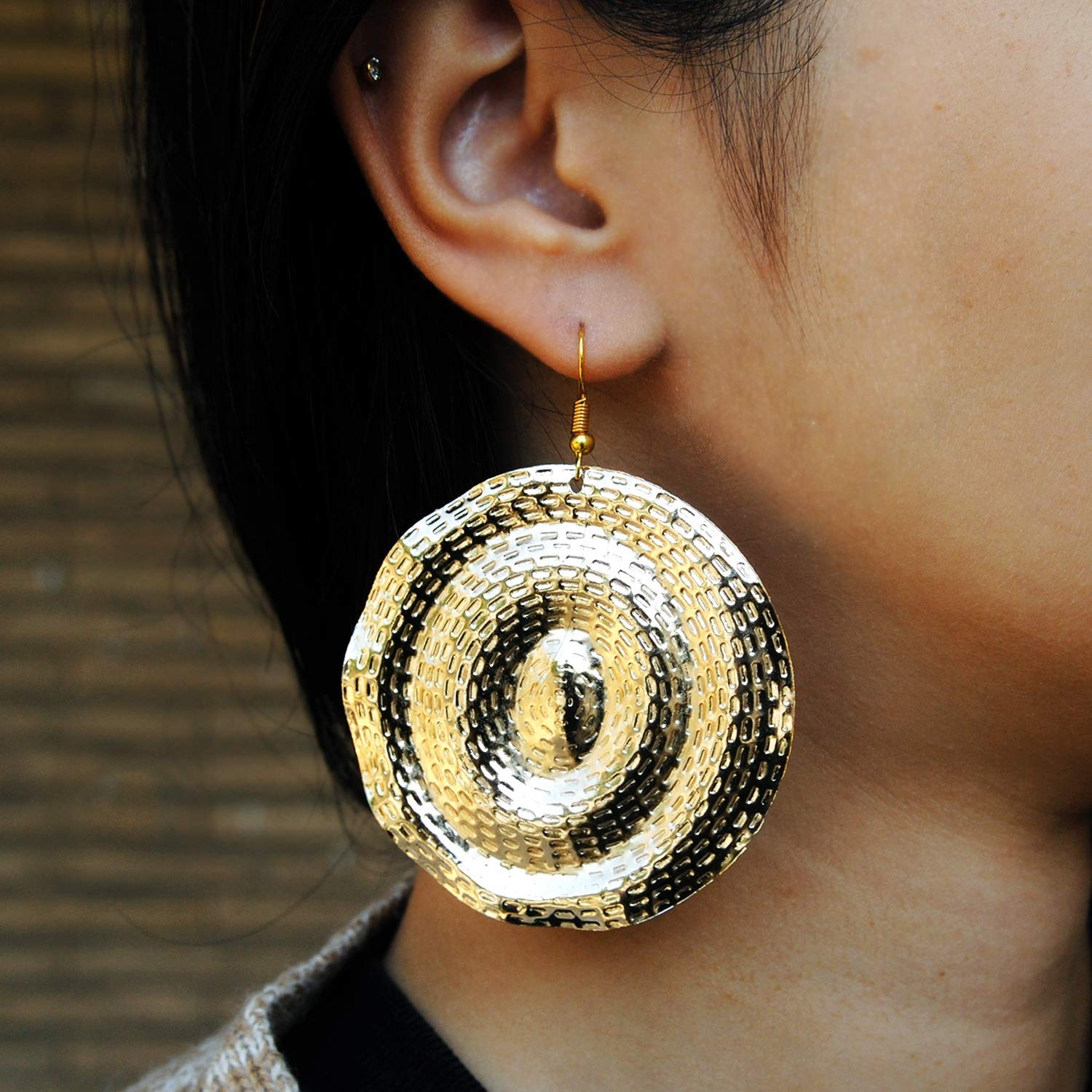 Cheap mail order shopping Abhika Creation's Golden Disc Big Embossed Drop Alloy Max 40% OFF Hand Mixed